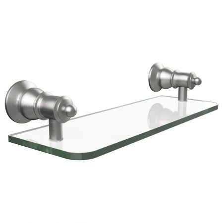 lillian brushed nickel glass shelf