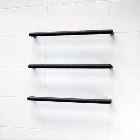 Low Voltage Single Round Towel Bars | Matte Black