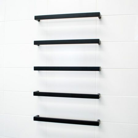 Single Square Towel Bars | Matte Black